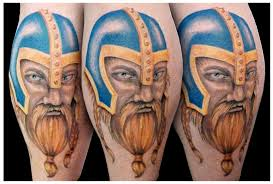 Viking Color Wearing Helmet Tattoos