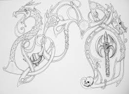 Viking Dragons And Axe Tattoo Designs