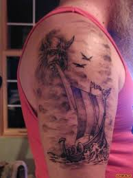 Viking Ship Tattoo On Half Sleeve