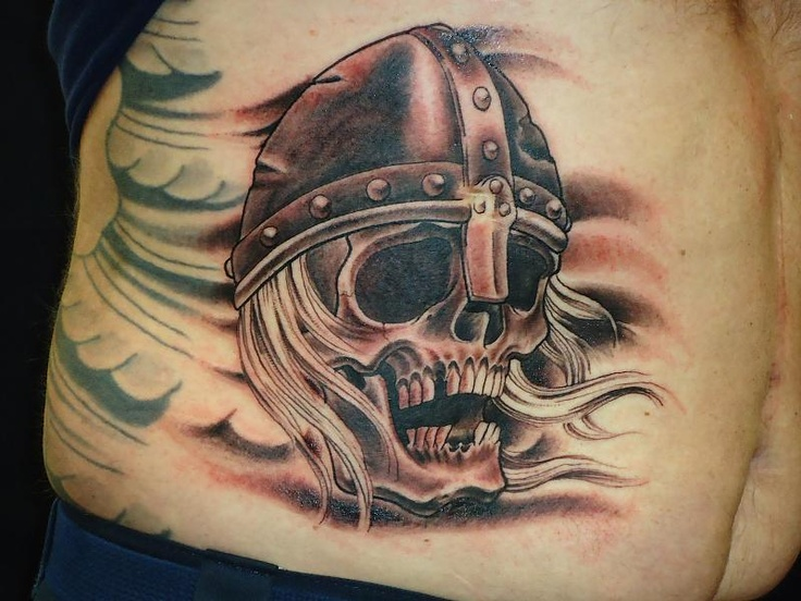 Viking Skull Wearing Helmet Tattoo On Waist