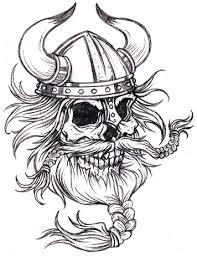 Viking Skull With Helmet Tattoo Design