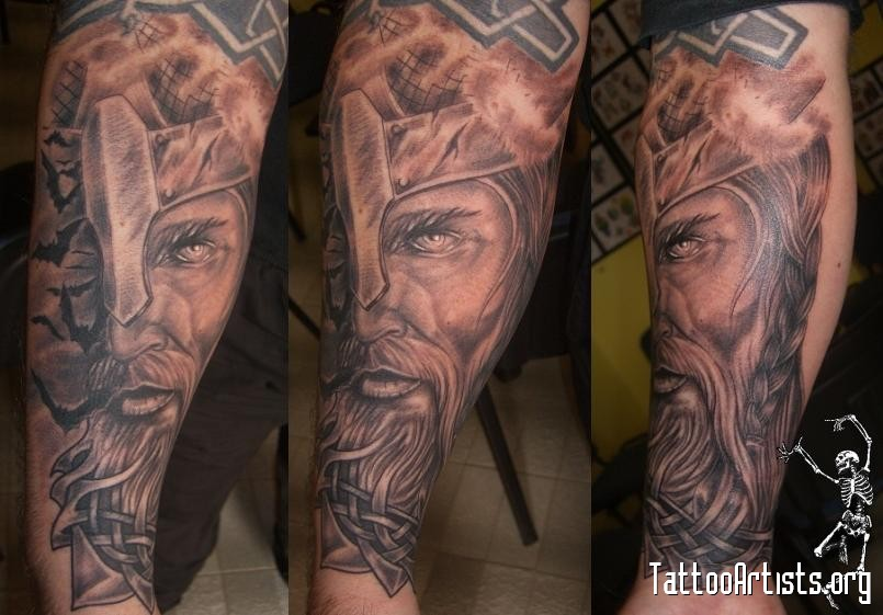 Viking Warrior Face Portrait Leg Sleeve Tattoos