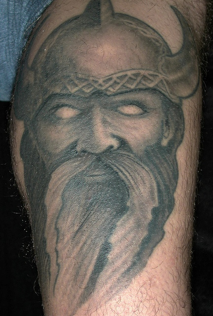 Viking Warrior Face Wearing Helmet Tattoo