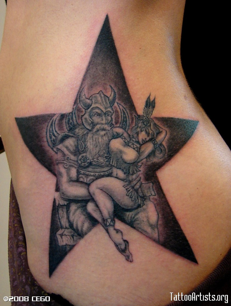 Viking With Lady Inside Star Tattoo On Waist