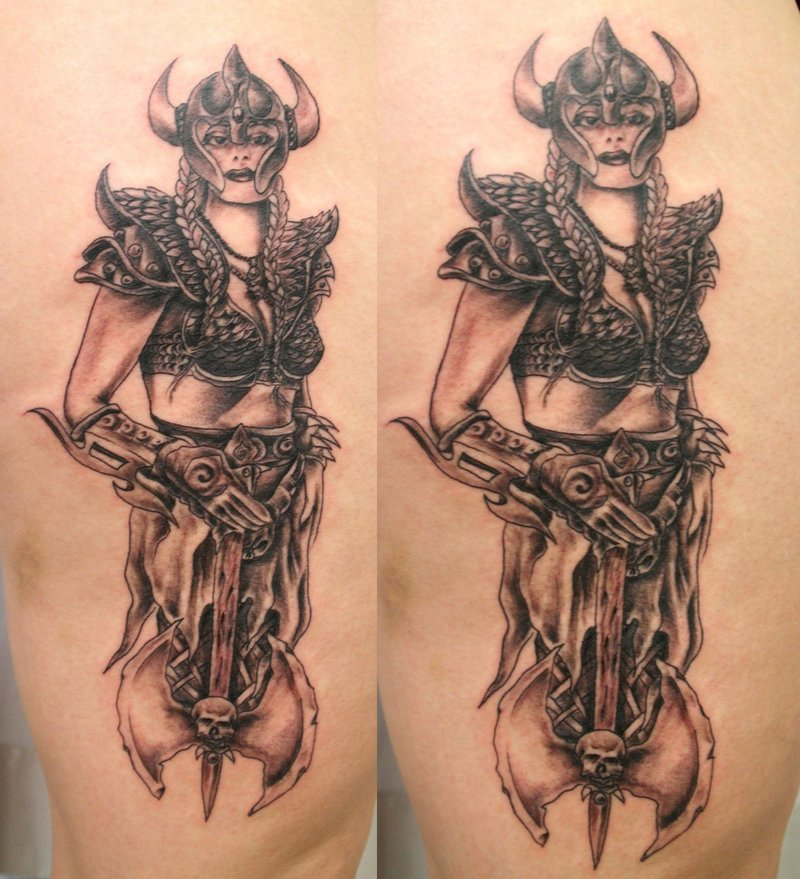 Viking Woman Biomechanical Tattoo