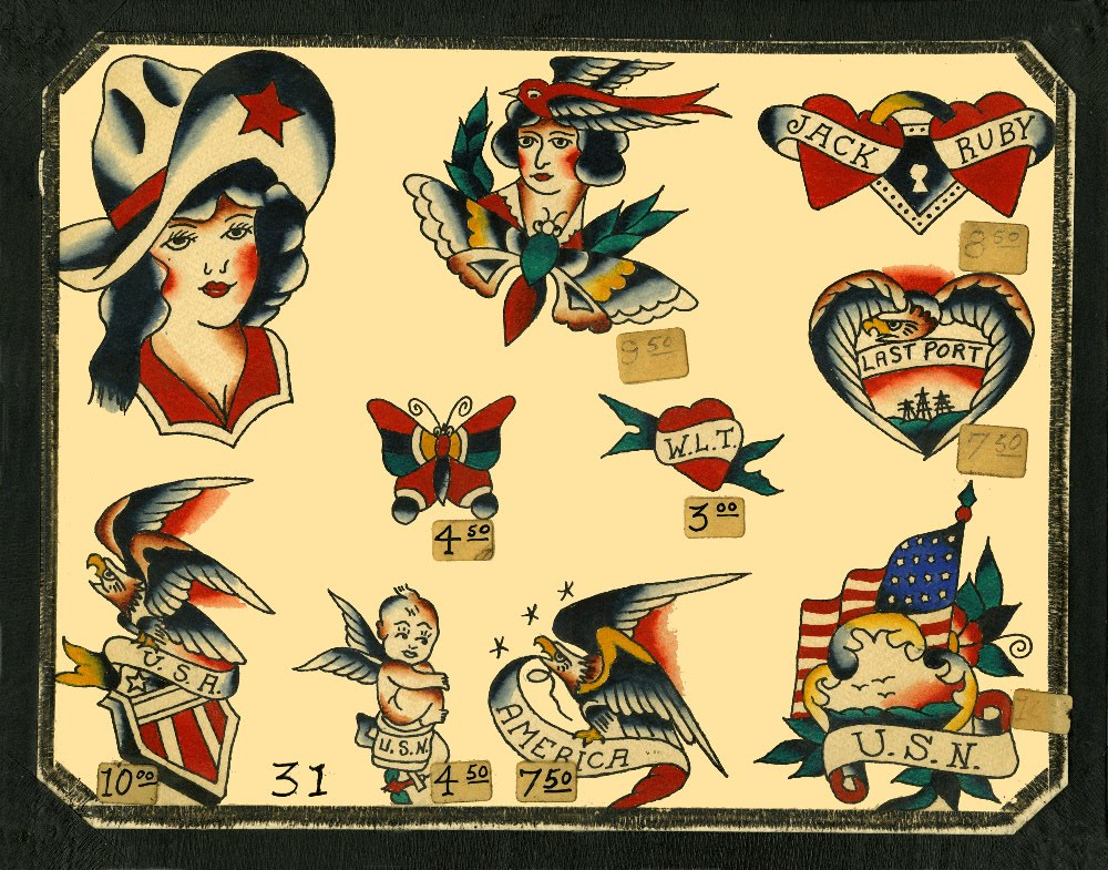 Vintage Traditional Tattoo Flash Set