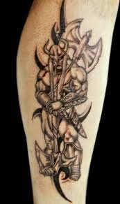 Warrior Viking And Axe Tattoos