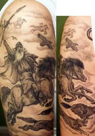 Warrior Viking On Horse Sleeve Tattoos