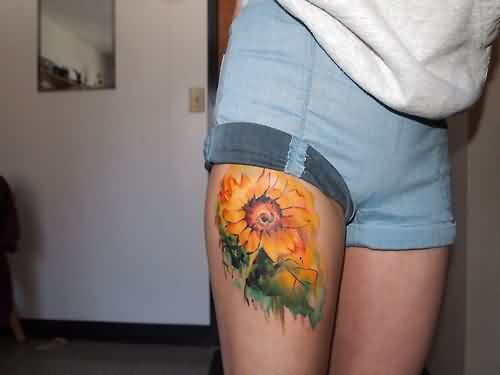 Watercolor Sunflower Tattoo On Right Thigh
