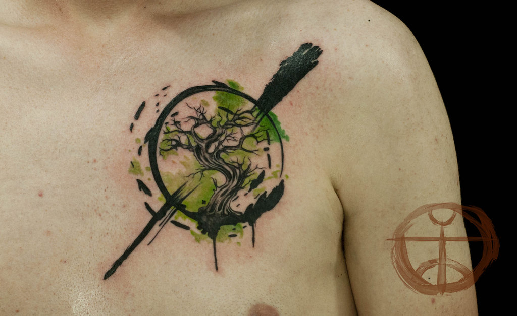 Watercolor Tree Of Life Tattoo For Chest