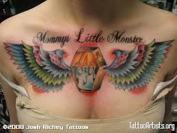Winged Coffin Traditional Chest Piece Tattoo