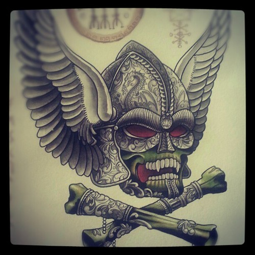 Winged Viking Skull And Cross Bones Tattoos Photo
