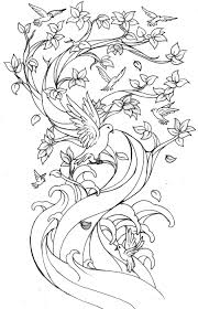 Without Color Bird Tree Tattoo Design