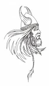 Without Color Old Viking Head Tattoo