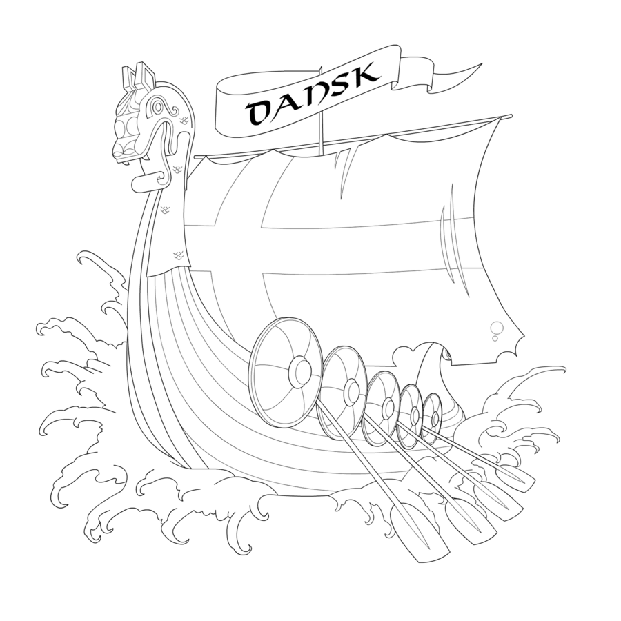 Without Color Viking Ship Tattoo Design