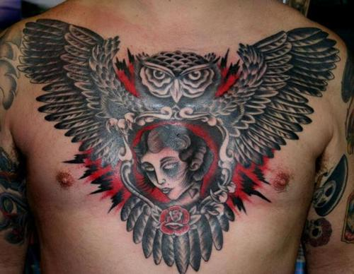 Wonderful Traditional Tattoo On Chest