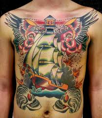 Wonderful Traditional Tattoos On Front Body