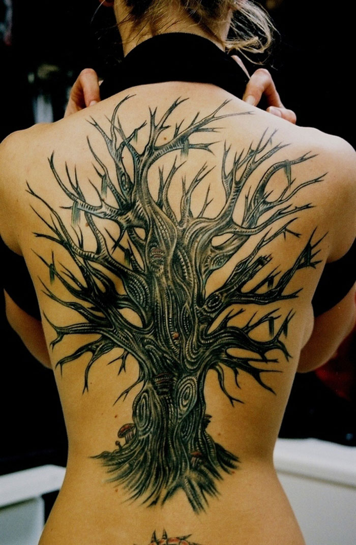 Wonderful Tree Tattoo On Back Body