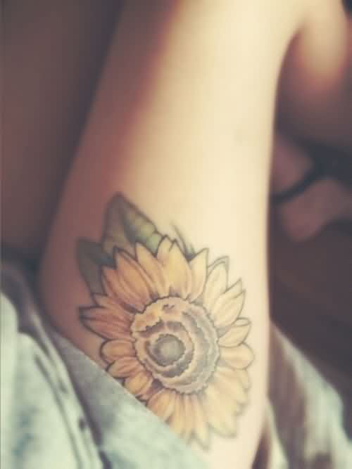 Yellow Sunflower Tattoo On Thigh