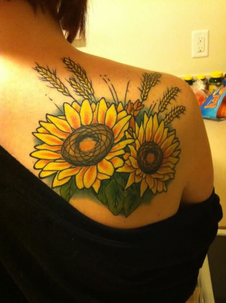Yellow Sunflower Tattoos On Right Back Shoulder