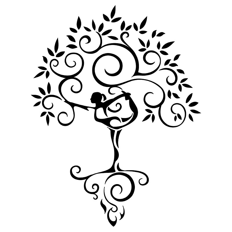 Yoga Girl Tree Tattoo Stencil
