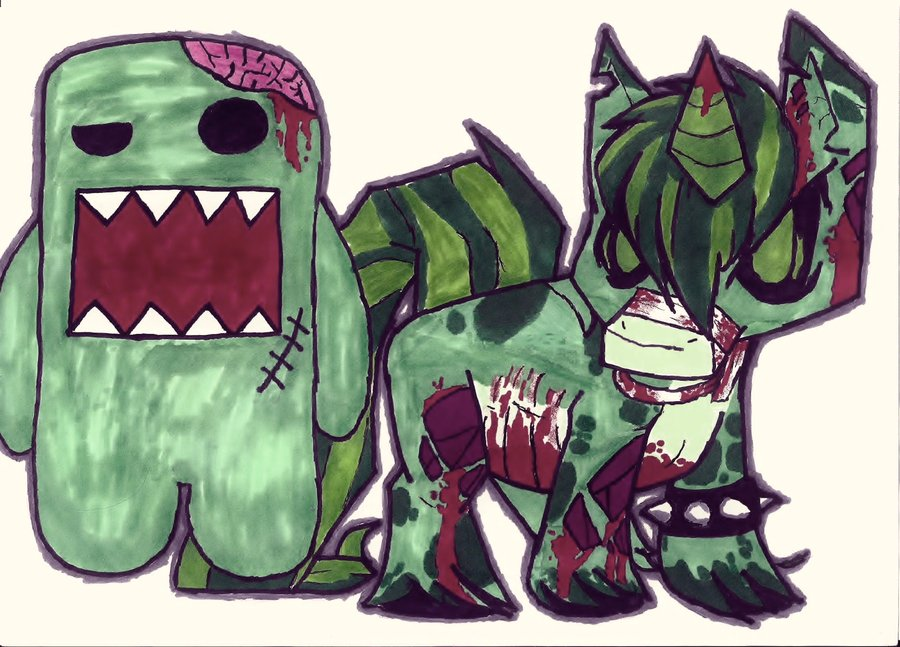 Zombie Domo And A Zombie Unicorn Tattoo Designs