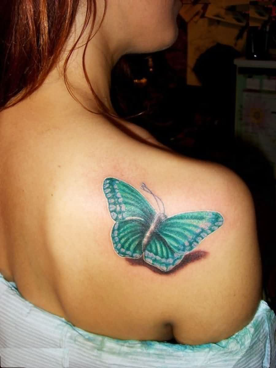 3D Butterfly Back Shoulder Tattoo For Girls
