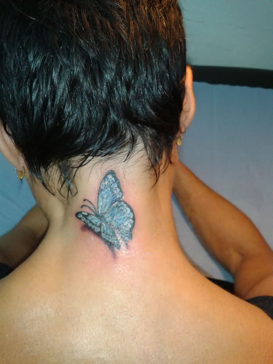 3D Butterfly Neck Tattoo