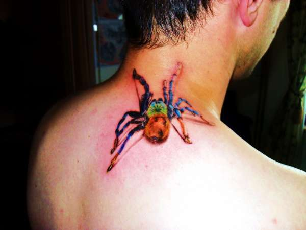 3D Colored Tarantula Neck Tattoo