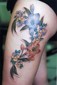 3D Colorful Orchid Flower Tattoos On Thigh