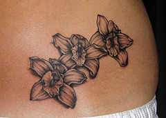 3D Grey Orchid Tattoos On Waist