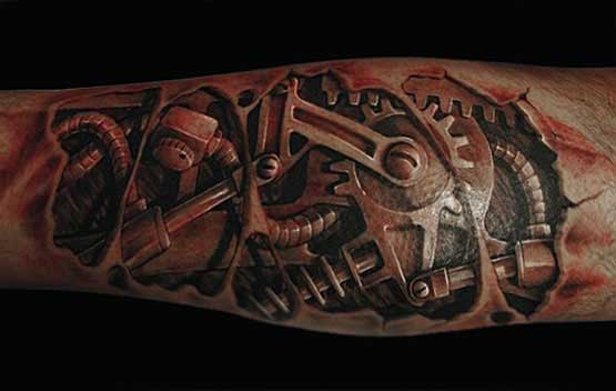 3D Ripped Skin Biomechanical Gear Tattoos On Sleeve