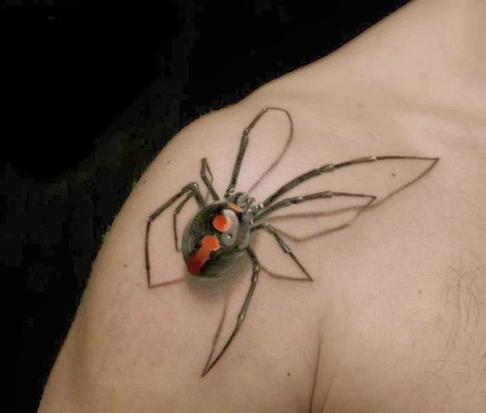 3D Spider With Eight Legs Tattoo On Shoulder