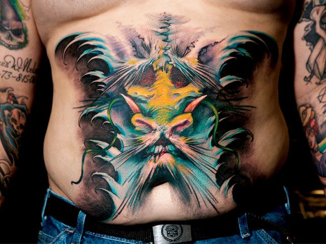 3D Stomach Tattoos For Men