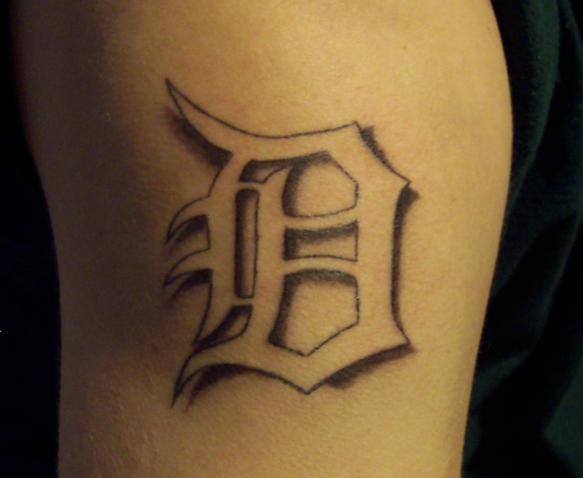 3D Style Detroit D Tattoo On Muscles