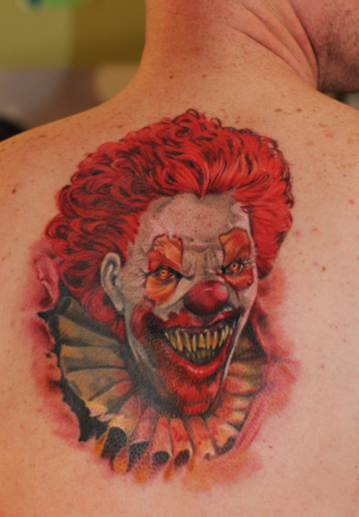 3D Torn Ripped Skin Clown Tattoo For Back