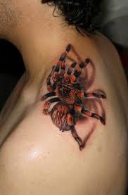 3D Tri Color Spider Tattoo On Top Of Shoulder