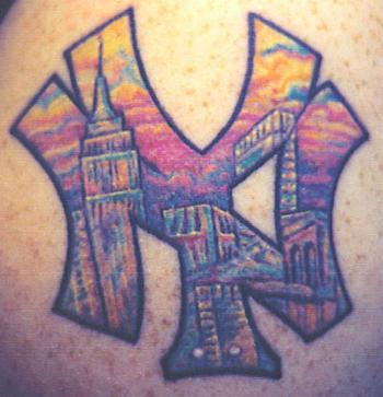 Many Color New York Yankees Logo Tattoo
