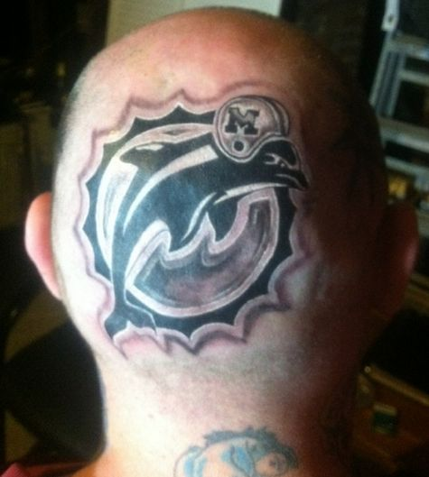 Miami Dolphins Sports Tattoo For Men