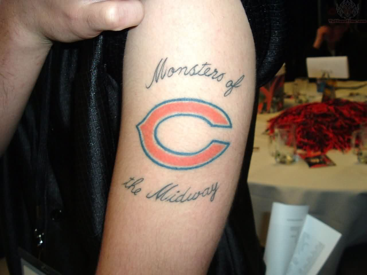 Monsters Of The Midway Chicago Bear Tattoo On Biceps