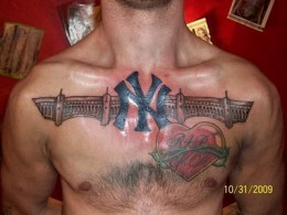 NY Sports And Barbed Heart Tattoos On Chest