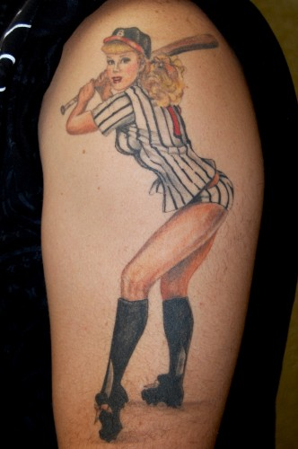 New Baseball Pin Up Girl Tattoo On Arm