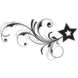 New Dark Black Ink Star Tattoo Stencil