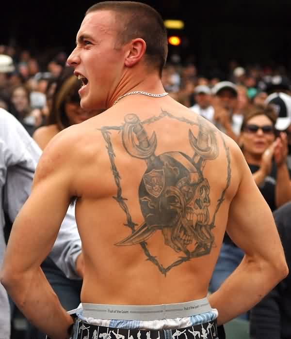 Oakland Raiders Skull Tattoo On Back