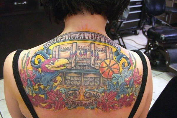 Pretty Colorful Sports Tattoos On Upperback