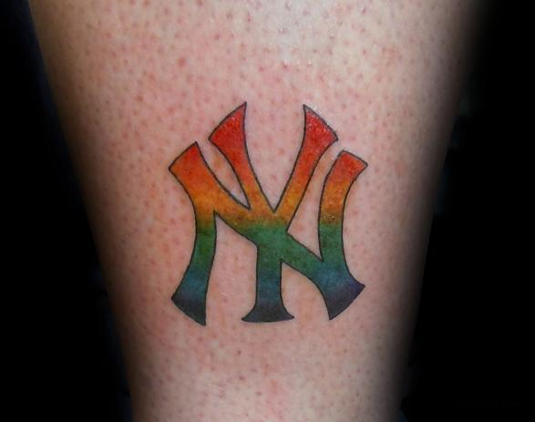 Rainbow NY Yankees Logo Tattoo
