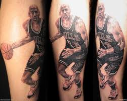 Realistic Basketball Player Sleeve Tattoo
