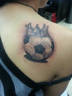 Realistic Crowned Football Tattoo On Back Shoulder
