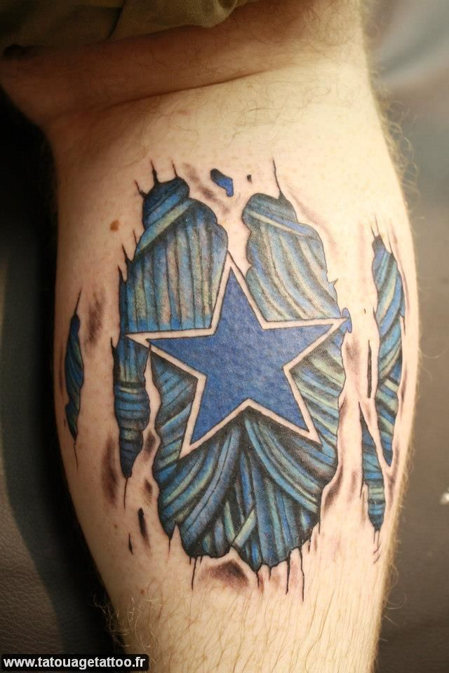 Ripped Skin Dallas Cowboys Team Logo Tattoo