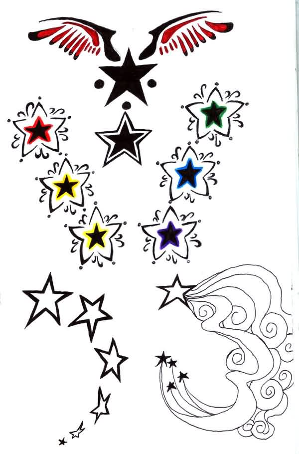 Several Star Tattoos Pack